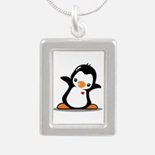 Hey Penguin! Silver Portrait Necklace