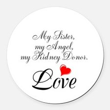 My Sister, my Angel Round Car Magnet