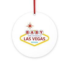 Las Vegas BABY GIRL Announcement Ornament (Round)