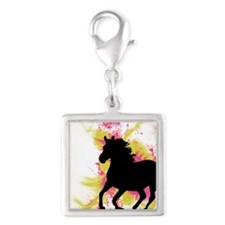 Running Horse Silver Square Charm