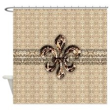 Golden Damask Fleur De Lis Shower Curtain