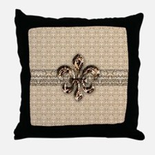 Golden Damask Fleur De Lis Throw Pillow