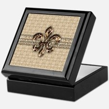 Golden Damask Fleur De Lis Keepsake Box
