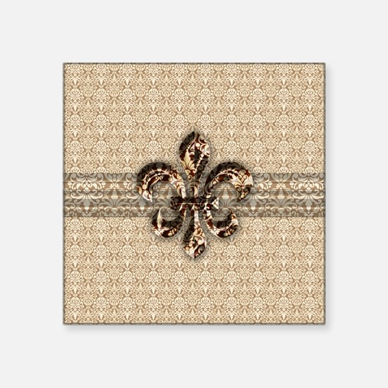 """Golden Damask Fleur De Lis Square Sticker 3"""" x 3"""""""