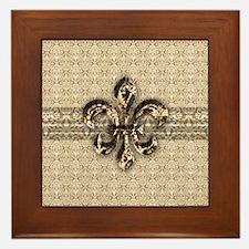 Golden Damask Fleur De Lis Framed Tile