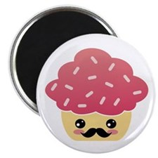 Kawaii Cupcake with Mustache Magnet