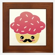 Kawaii Cupcake with Mustache Framed Tile