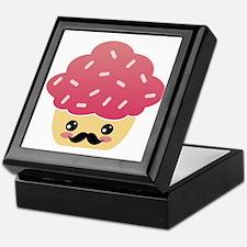 Kawaii Cupcake with Mustache Keepsake Box