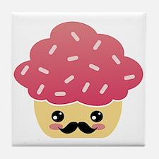Kawaii Cupcake with Mustache Tile Coaster