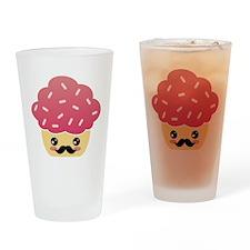 Kawaii Cupcake with Mustache Drinking Glass