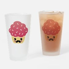 Kawaii Cupcake with Mustache Drinking Glass