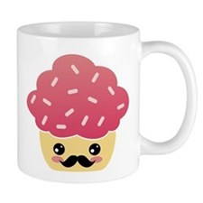 Kawaii Cupcake with Mustache Mug