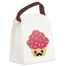 Kawaii Cupcake with Mustache Canvas Lunch Bag