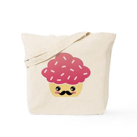 Kawaii Cupcake with Mustache Tote Bag