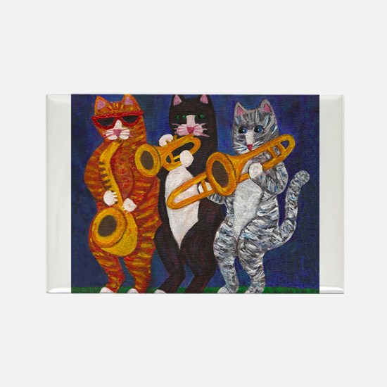 Cats Brass Section Rectangle Magnet