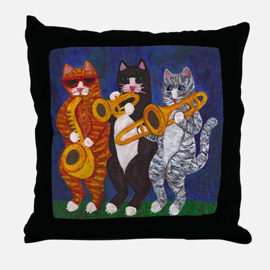 Cats Brass Section Throw Pillow