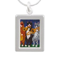 Cats Brass Section Silver Portrait Necklace