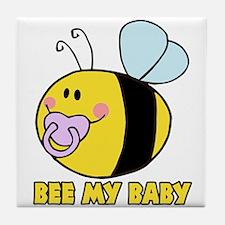 bee my baby cute baby bumble bee Tile Coaster