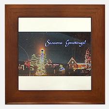 Bluish Christmas Scenery Framed Tile