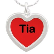 Tia Red Silver Heart Necklace