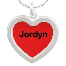 Jordyn Red Silver Heart Necklace