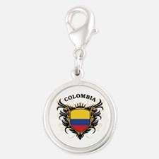 Colombia Silver Round Charm