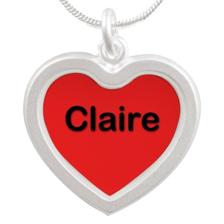Claire Red Silver Heart Necklace