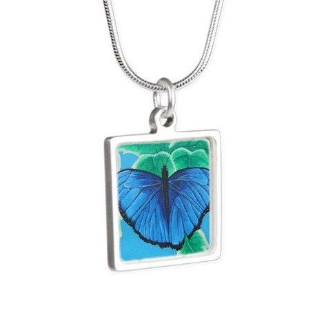 Blue Morpho Silver Square Necklace
