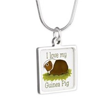 I Love my Guinea Pig Silver Square Necklace