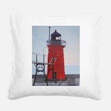 South Haven Lighthouse Square Canvas Pillow