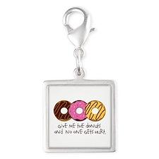 I love donuts! Silver Square Charm