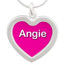 Angie Pink Silver Heart Necklace