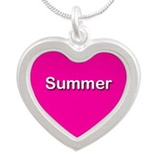 Summer Pink Silver Heart Necklace