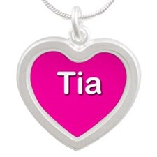Tia Pink Silver Heart Necklace