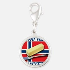 norway-needs-butter.png Silver Round Charm