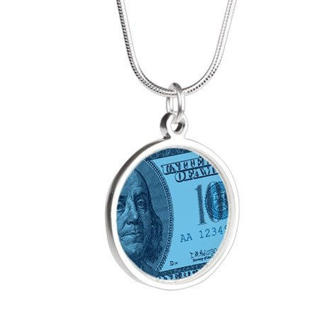 100-dollar-closeup_blue.png Silver Round Necklace