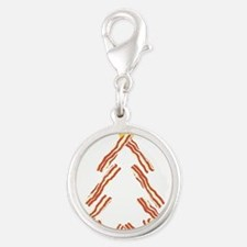 Bacon Christmas Tree Silver Round Charm