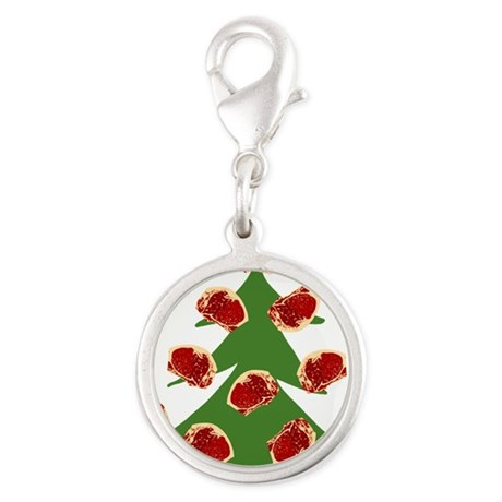 Meat Christmas Tree Silver Round Charm