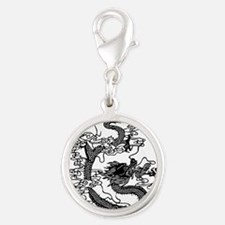dragon_black.png Silver Round Charm