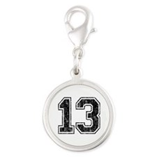 Retro 13 Number Silver Round Charm