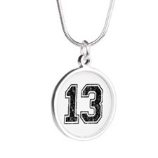 Retro 13 Number Silver Round Necklace