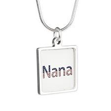 Nana Stars and Stripes Silver Square Necklace