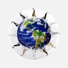 """Greyhound around the world! 3.5"""" Button"""