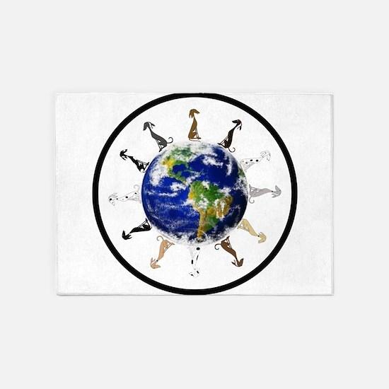 Greyhound around the world! 5'x7'Area Rug