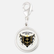 Proud Navy Mom Silver Round Charm
