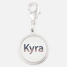 Kyra Stars and Stripes Silver Round Charm