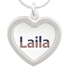 Laila Stars and Stripes Silver Heart Necklace