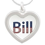 Bill Stars and Stripes Silver Heart Necklace