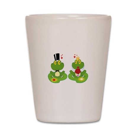 cute bride and groom froggy frog couple Shot Glass