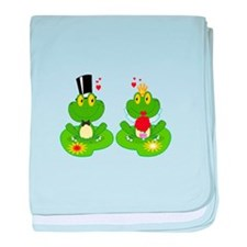 cute bride and groom froggy frog couple baby blank